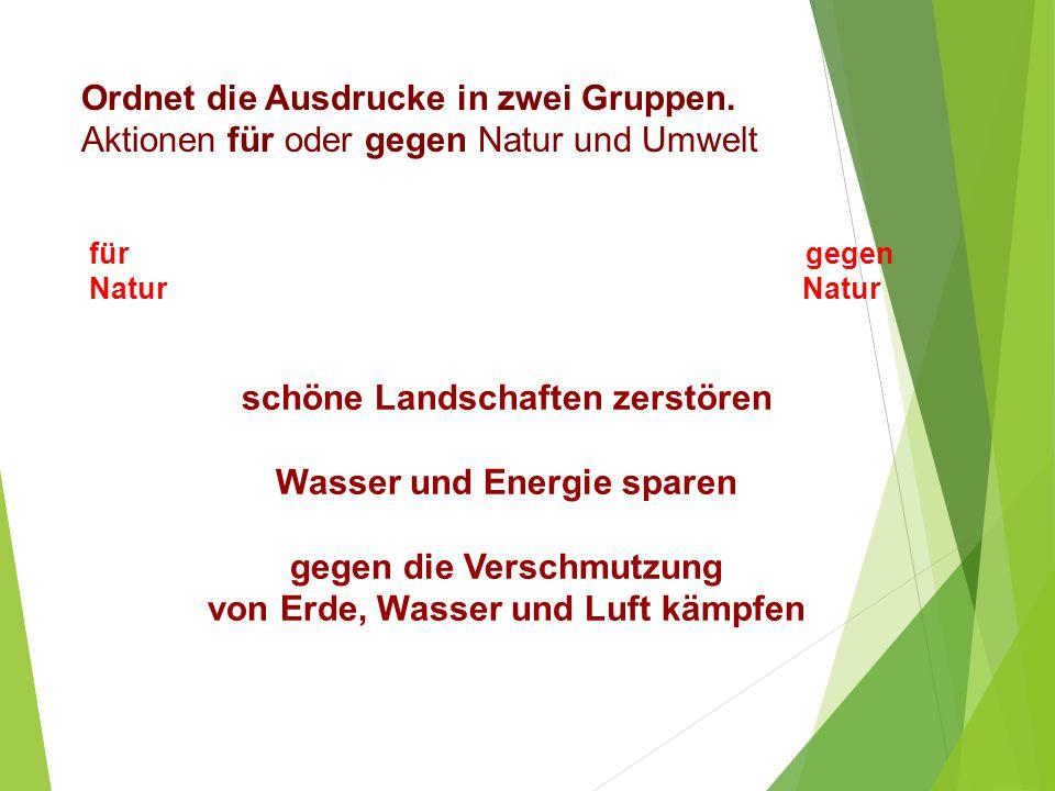 Ordnet die Ausdrucke in zwei Gruppen. Aktionen für oder gegen Natur und Umwelt für gegen Natur Natur schöne Landschaften zerstören Wasser und Energie