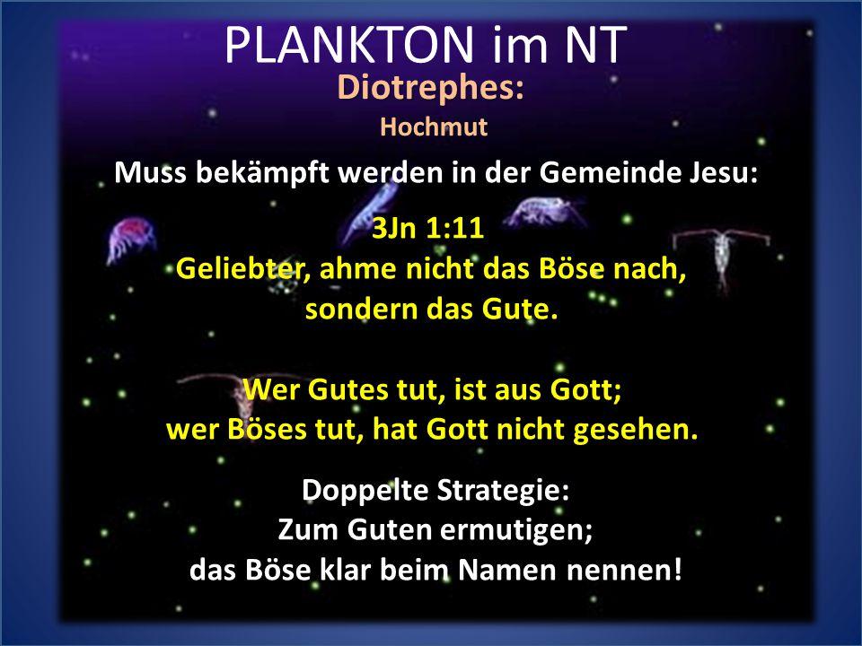 PLANKTON im NT Diotrephes:Hochmut Muss bekämpft werden in der Gemeinde Jesu: 3Jn 1:11 Geliebter, ahme nicht das Böse nach, sondern das Gute. Wer Gutes