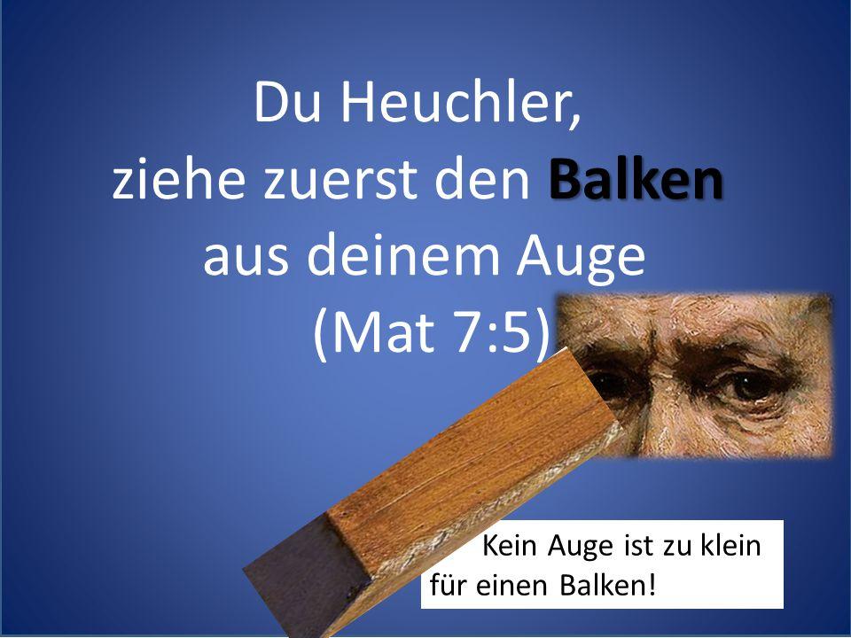 Du Heuchler, Balken ziehe zuerst den Balken aus deinem Auge (Mat 7:5) Kein Auge ist zu klein für einen Balken!