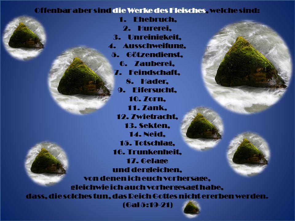 Offenbar aber sind die Werke des Fleisches, welche sind: 1.Ehebruch, 2.Hurerei, 3.Unreinigkeit, 4.Ausschweifung, 5.Götzendienst, 6.Zauberei, 7.Feindschaft, 8.Hader, 9.Eifersucht, 10.Zorn, 11.Zank, 12.Zwietracht, 13.Sekten, 14.Neid, 15.Totschlag, 16.Trunkenheit, 17.Gelage und dergleichen, von denen ich euch vorhersage, gleichwie ich auch vorhergesagt habe, dass, die solches tun, das Reich Gottes nicht ererben werden.
