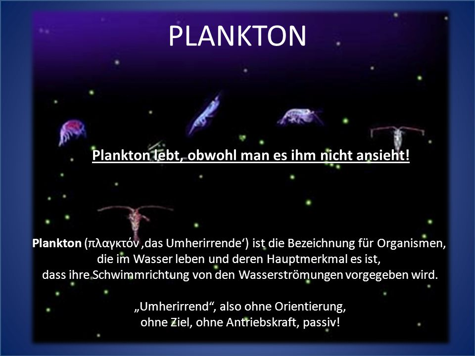 Plankton (πλαγκτόν,das Umherirrende') ist die Bezeichnung für Organismen, die im Wasser leben und deren Hauptmerkmal es ist, dass ihre Schwimmrichtung von den Wasserströmungen vorgegeben wird.