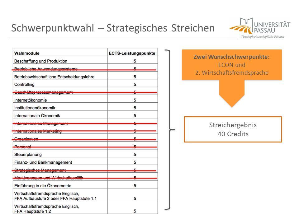Schwerpunktwahl – Strategisches Streichen Zwei Wunschschwerpunkte: ECON und 2. Wirtschaftsfremdsprache Zwei Wunschschwerpunkte: ECON und 2. Wirtschaft