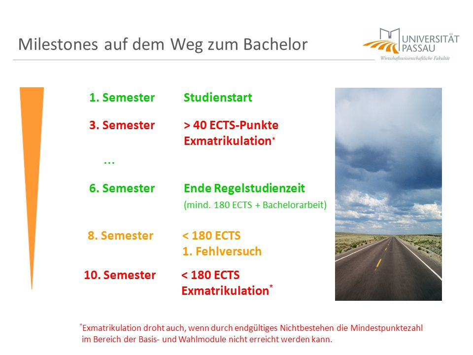 Milestones auf dem Weg zum Bachelor 1. SemesterStudienstart 3. Semester> 40 ECTS-Punkte Exmatrikulation * … 6. SemesterEnde Regelstudienzeit (mind. 18
