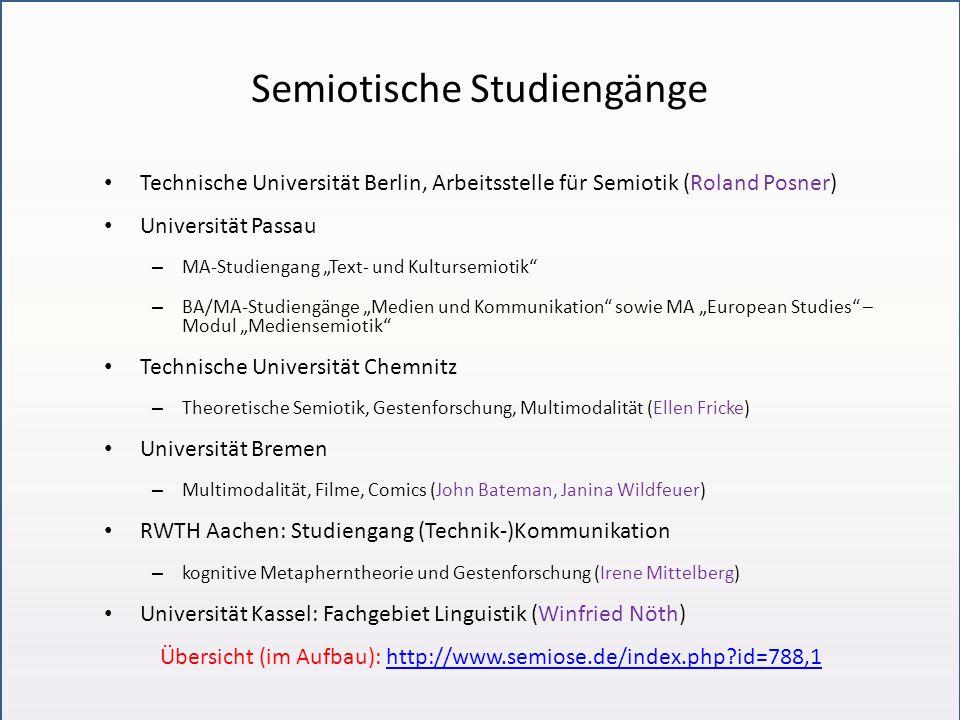 """Semiotische Studiengänge Technische Universität Berlin, Arbeitsstelle für Semiotik (Roland Posner) Universität Passau – MA-Studiengang """"Text- und Kult"""