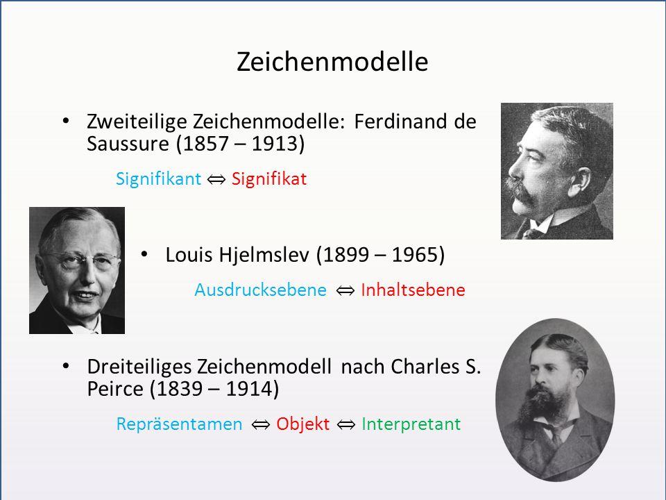 Zeichenmodelle Zweiteilige Zeichenmodelle: Ferdinand de Saussure (1857 – 1913) Signifikant ⇔ Signifikat Louis Hjelmslev (1899 – 1965) Ausdrucksebene ⇔ Inhaltsebene Dreiteiliges Zeichenmodell nach Charles S.