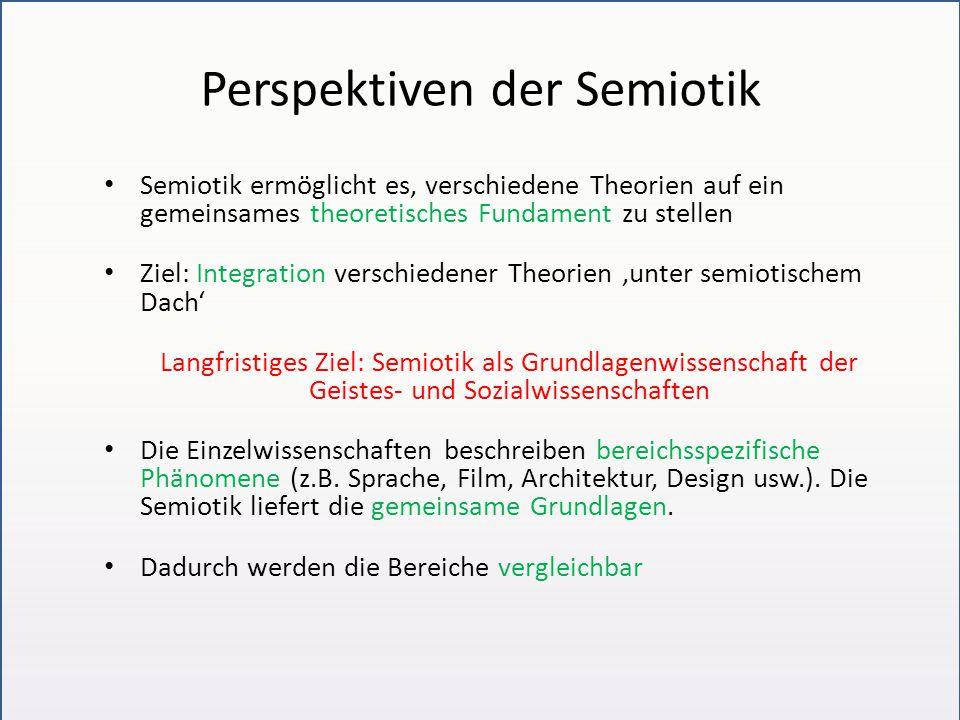 Perspektiven der Semiotik Semiotik ermöglicht es, verschiedene Theorien auf ein gemeinsames theoretisches Fundament zu stellen Ziel: Integration versc