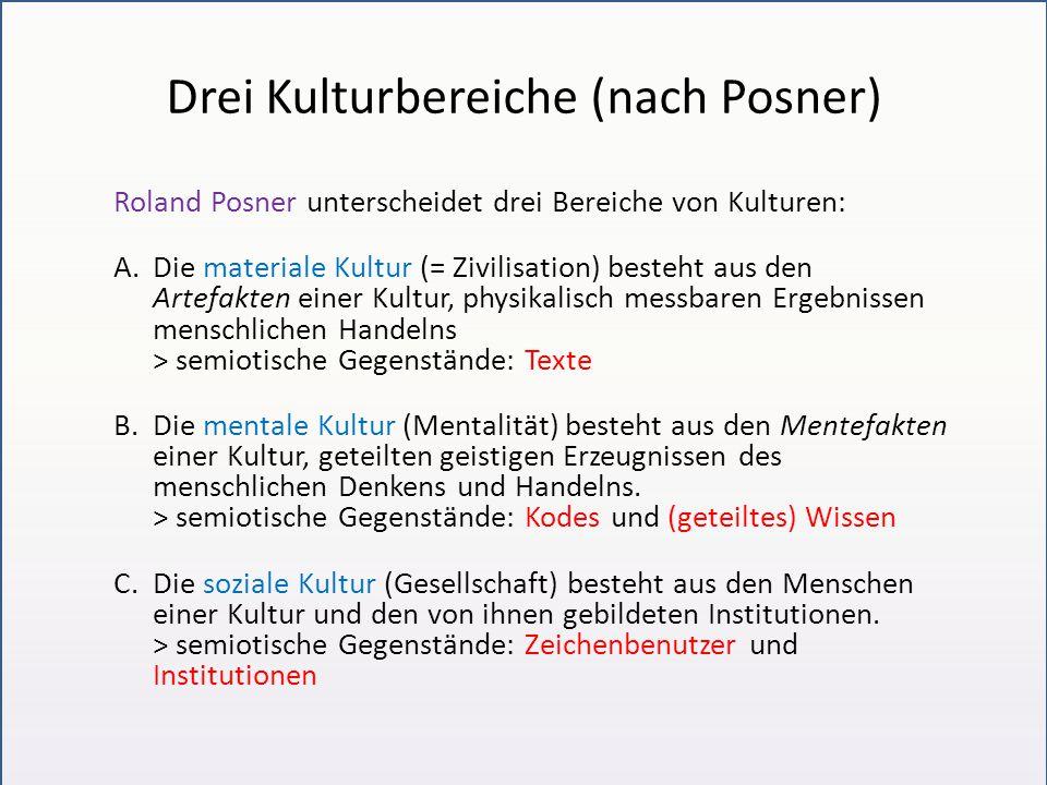 Drei Kulturbereiche (nach Posner) Roland Posner unterscheidet drei Bereiche von Kulturen: A.Die materiale Kultur (= Zivilisation) besteht aus den Arte