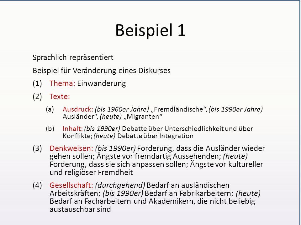 """Beispiel 1 Sprachlich repräsentiert Beispiel für Veränderung eines Diskurses (1)Thema: Einwanderung (2)Texte: (a)Ausdruck: (bis 1960er Jahre) """"Fremdländische , (bis 1990er Jahre) Ausländer , (heute) """"Migranten (b)Inhalt: (bis 1990er) Debatte über Unterschiedlichkeit und über Konflikte; (heute) Debatte über Integration (3)Denkweisen: (bis 1990er) Forderung, dass die Ausländer wieder gehen sollen; Ängste vor fremdartig Aussehenden; (heute) Forderung, dass sie sich anpassen sollen; Ängste vor kultureller und religiöser Fremdheit (4)Gesellschaft: (durchgehend) Bedarf an ausländischen Arbeitskräften; (bis 1990er) Bedarf an Fabrikarbeitern; (heute) Bedarf an Facharbeitern und Akademikern, die nicht beliebig austauschbar sind"""