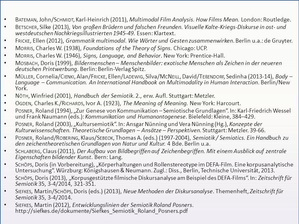 B ATEMAN, John/S CHMIDT, Karl-Heinrich (2011), Multimodal Film Analysis. How Films Mean. London: Routledge. B ETSCHER, Silke (2013), Von großen Brüder