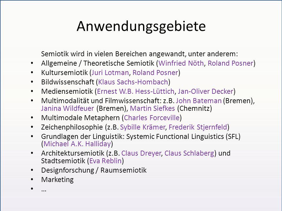Anwendungsgebiete Semiotik wird in vielen Bereichen angewandt, unter anderem: Allgemeine / Theoretische Semiotik (Winfried Nöth, Roland Posner) Kultursemiotik (Juri Lotman, Roland Posner) Bildwissenschaft (Klaus Sachs-Hombach) Mediensemiotik (Ernest W.B.