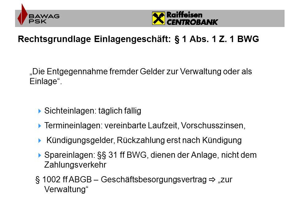 """Rechtsgrundlage Einlagengeschäft: § 1 Abs. 1 Z. 1 BWG """"Die Entgegennahme fremder Gelder zur Verwaltung oder als Einlage"""".  Sichteinlagen: täglich fäl"""