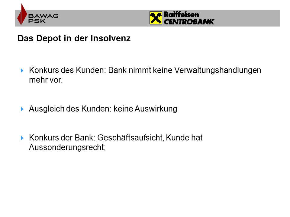 Das Depot in der Insolvenz  Konkurs des Kunden: Bank nimmt keine Verwaltungshandlungen mehr vor.  Ausgleich des Kunden: keine Auswirkung  Konkurs d