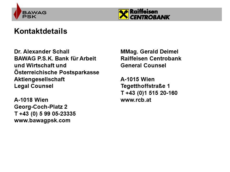 Kontaktdetails MMag. Gerald Deimel Raiffeisen Centrobank General Counsel A-1015 Wien Tegetthoffstraße 1 T +43 (0)1 515 20-160 www.rcb.at Dr. Alexander