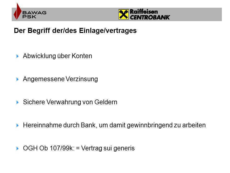 Der Begriff der/des Einlage/vertrages  Abwicklung über Konten  Angemessene Verzinsung  Sichere Verwahrung von Geldern  Hereinnahme durch Bank, um