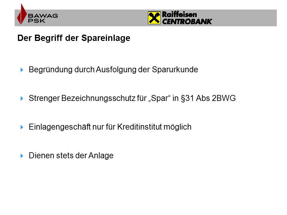 """Der Begriff der Spareinlage  Begründung durch Ausfolgung der Sparurkunde  Strenger Bezeichnungsschutz für """"Spar"""" in §31 Abs 2BWG  Einlagengeschäft"""