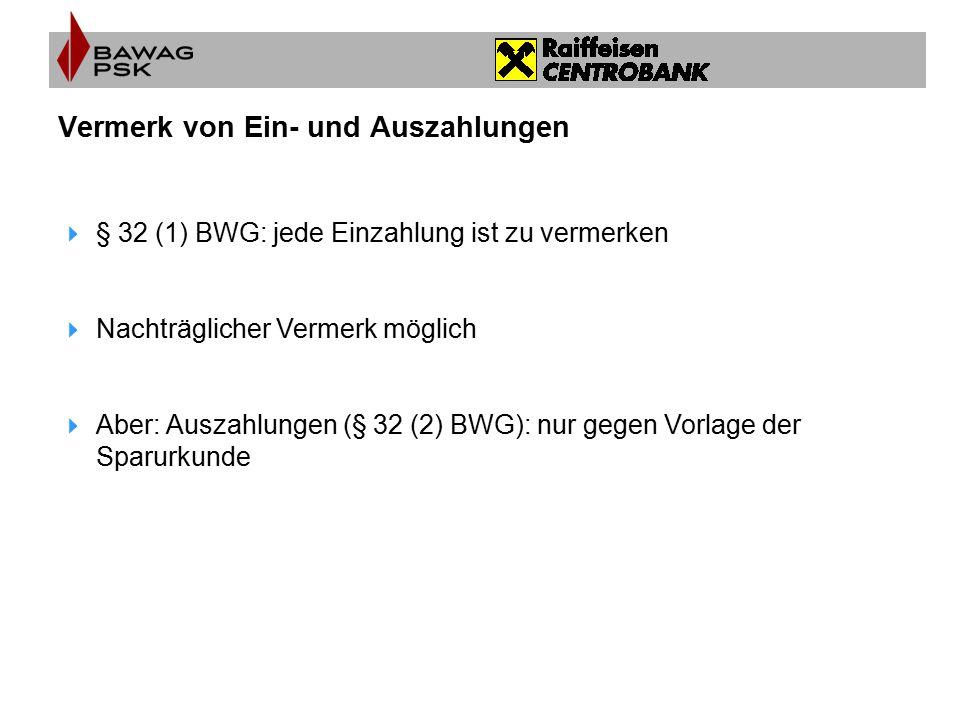 Fälligkeit der Spareinlage  Abhängig von der Vereinbarung  Bei Bindung, vor Fälligkeit  Vorschusszinsen  § 32 (8) BWG = 1‰ pro Monat, aber nicht mehr als Habenzinsen
