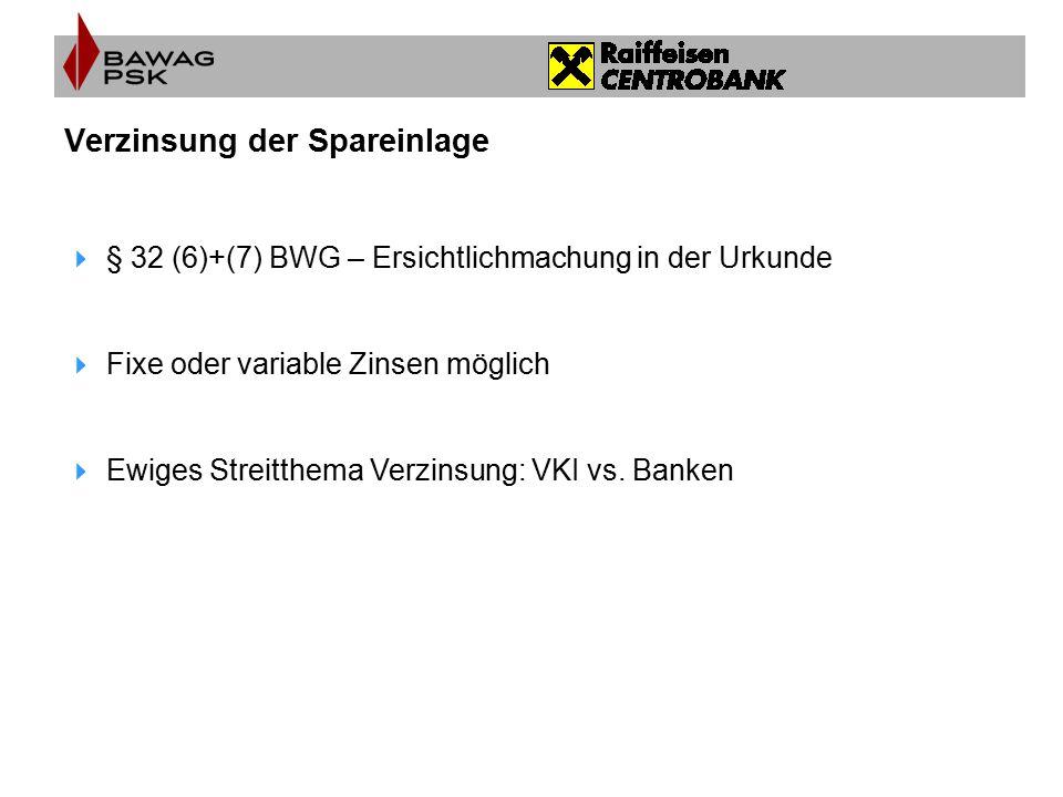 Verzinsung der Spareinlage  § 32 (6)+(7) BWG – Ersichtlichmachung in der Urkunde  Fixe oder variable Zinsen möglich  Ewiges Streitthema Verzinsung: