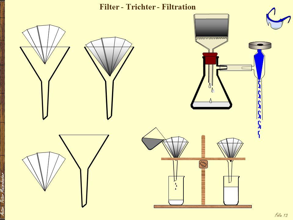 Autor: Peter Maisenbacher Folie 13 Filter - Trichter - Filtration