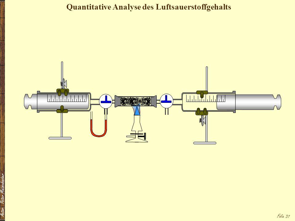 Autor: Peter Maisenbacher Folie 37 Quantitative Analyse des Luftsauerstoffgehalts