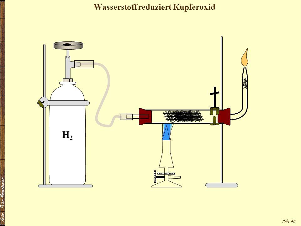 Autor: Peter Maisenbacher Folie 40 Wasserstoff reduziert Kupferoxid H2H2