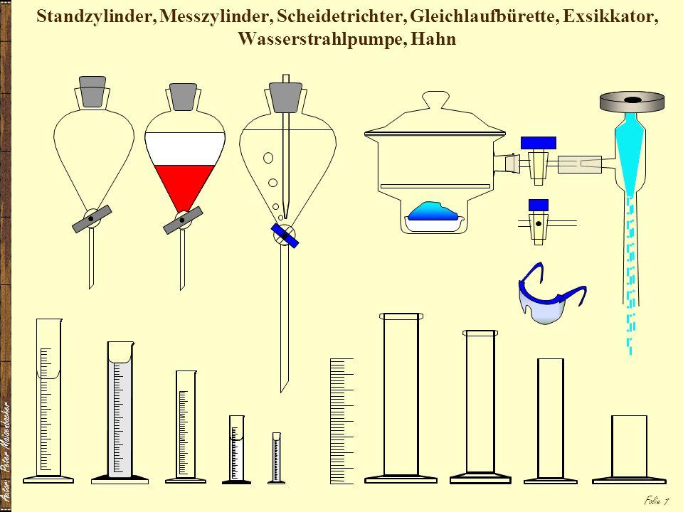 Autor: Peter Maisenbacher Folie 7 Standzylinder, Messzylinder, Scheidetrichter, Gleichlaufbürette, Exsikkator, Wasserstrahlpumpe, Hahn