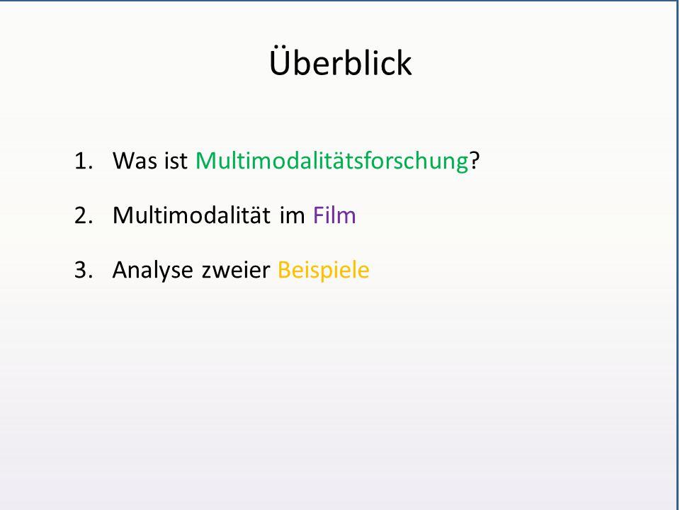 Überblick 1.Was ist Multimodalitätsforschung? 2.Multimodalität im Film 3.Analyse zweier Beispiele