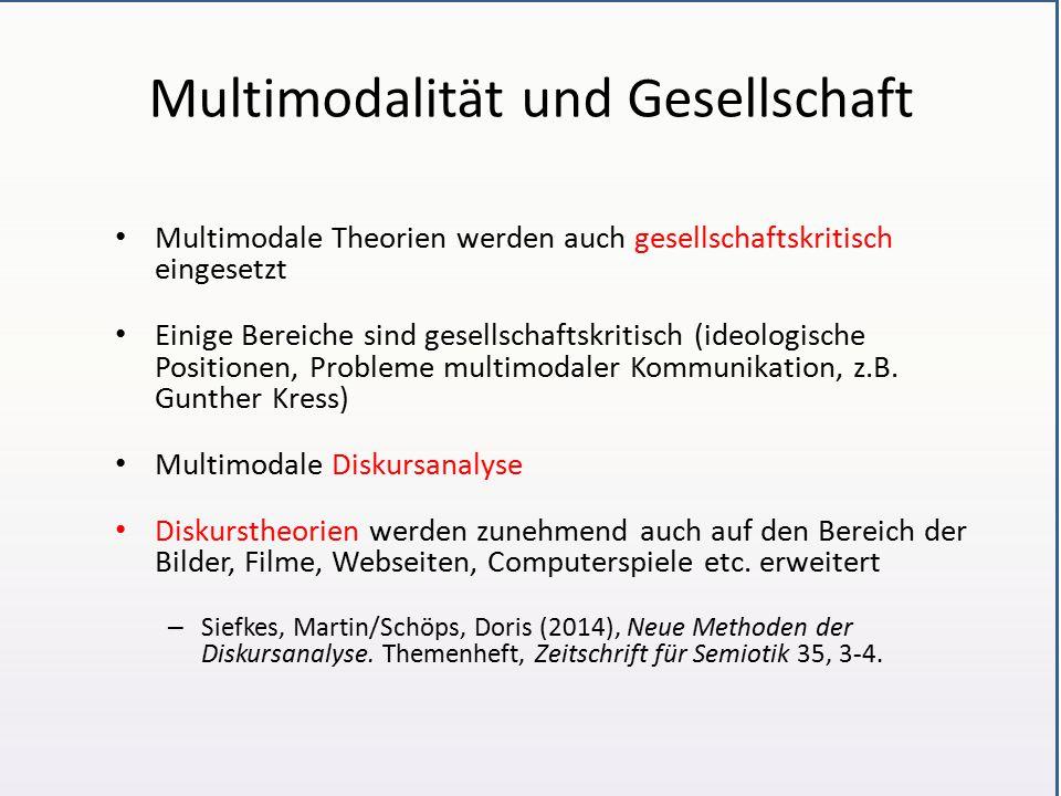 Multimodalität und Gesellschaft Multimodale Theorien werden auch gesellschaftskritisch eingesetzt Einige Bereiche sind gesellschaftskritisch (ideologische Positionen, Probleme multimodaler Kommunikation, z.B.