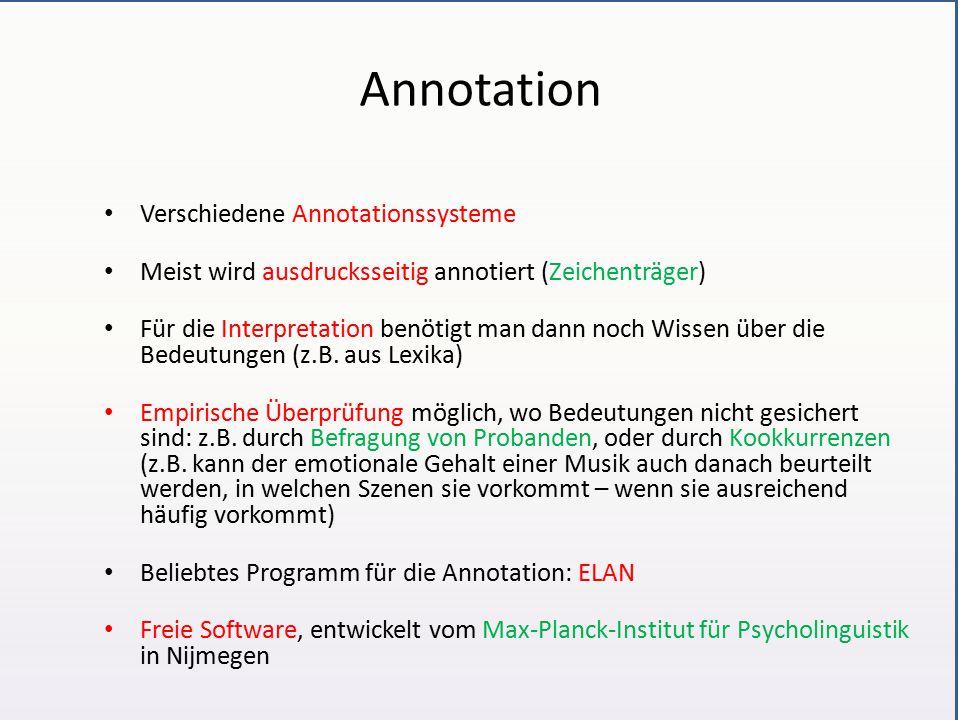 Annotation Verschiedene Annotationssysteme Meist wird ausdrucksseitig annotiert (Zeichenträger) Für die Interpretation benötigt man dann noch Wissen über die Bedeutungen (z.B.