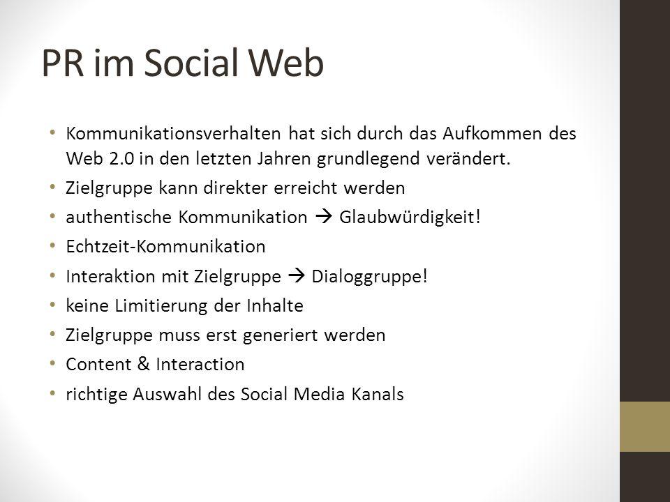 PR im Social Web Kommunikationsverhalten hat sich durch das Aufkommen des Web 2.0 in den letzten Jahren grundlegend verändert. Zielgruppe kann direkte