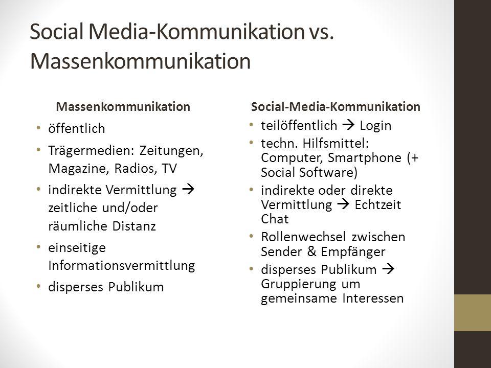 Social Media-Kommunikation vs. Massenkommunikation Massenkommunikation öffentlich Trägermedien: Zeitungen, Magazine, Radios, TV indirekte Vermittlung
