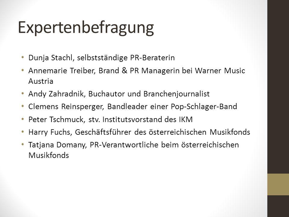 Expertenbefragung Dunja Stachl, selbstständige PR-Beraterin Annemarie Treiber, Brand & PR Managerin bei Warner Music Austria Andy Zahradnik, Buchautor