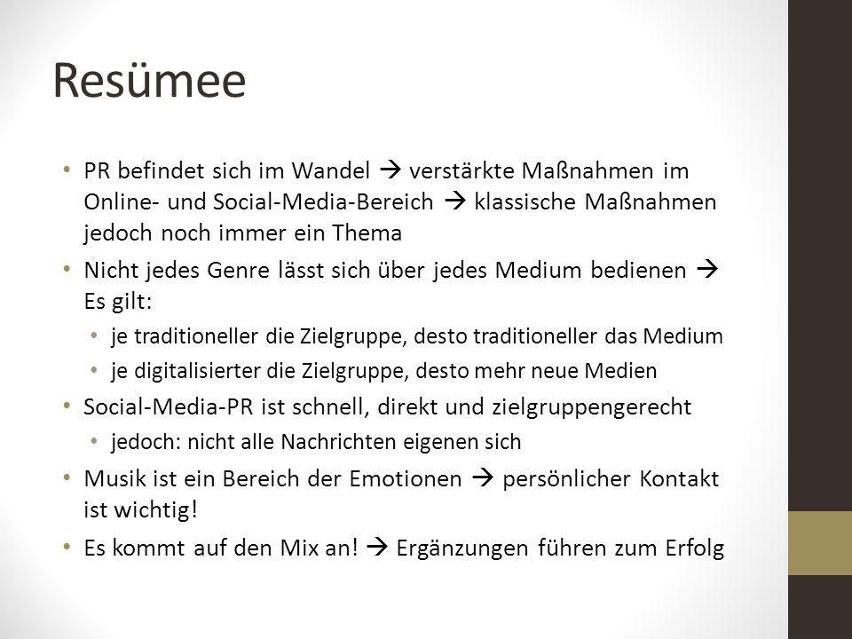 Resümee PR befindet sich im Wandel  verstärkte Maßnahmen im Online- und Social-Media-Bereich  klassische Maßnahmen jedoch noch immer ein Thema Nicht