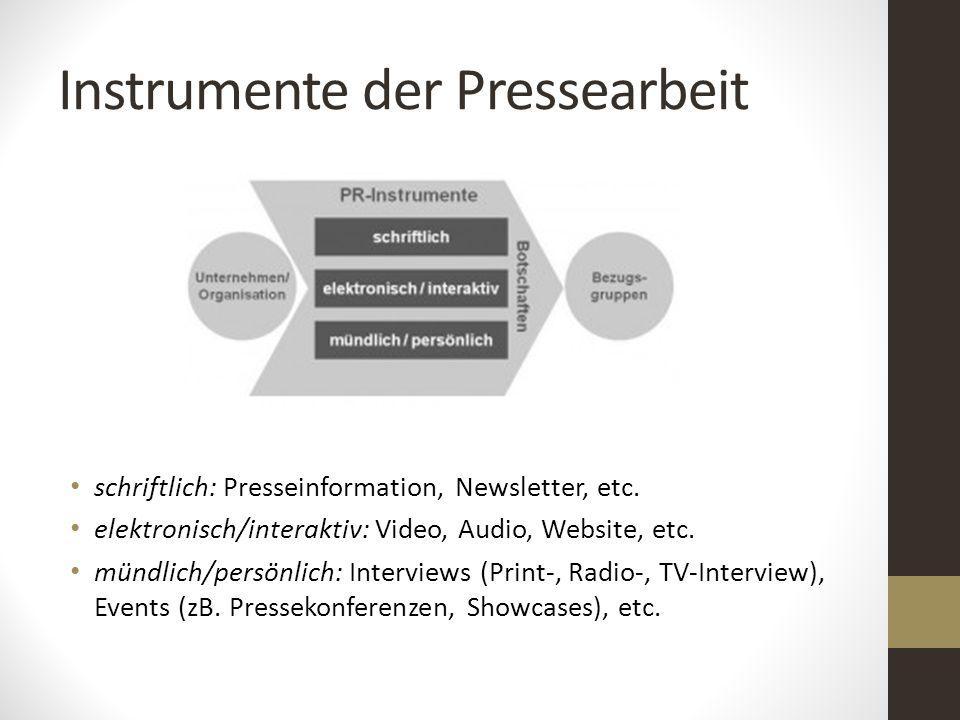 Instrumente der Pressearbeit schriftlich: Presseinformation, Newsletter, etc. elektronisch/interaktiv: Video, Audio, Website, etc. mündlich/persönlich