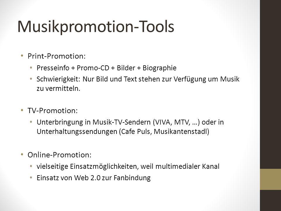 Musikpromotion-Tools Print-Promotion: Presseinfo + Promo-CD + Bilder + Biographie Schwierigkeit: Nur Bild und Text stehen zur Verfügung um Musik zu ve