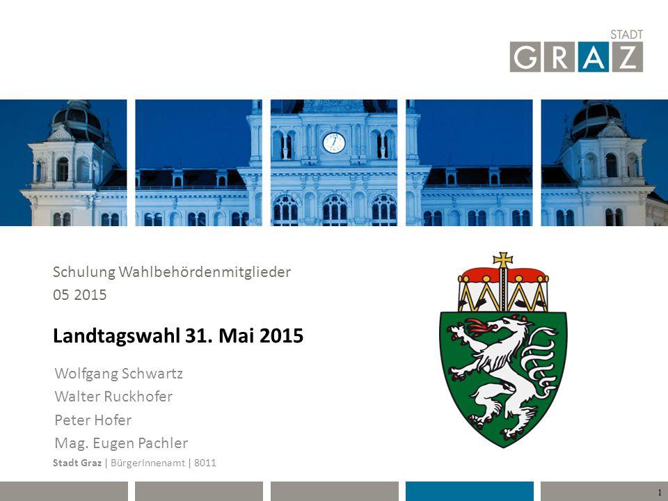 12 Briefwahl Von der Stadt Graz ausgestellte und an die Bezirkswahlbehörde Graz adressierte Wahlkarten, die bereits zur Stimmabgabe mittels Briefwahl verwendet wurden, müssen von der Sprengelwahlbehörde entgegengenommen werden.