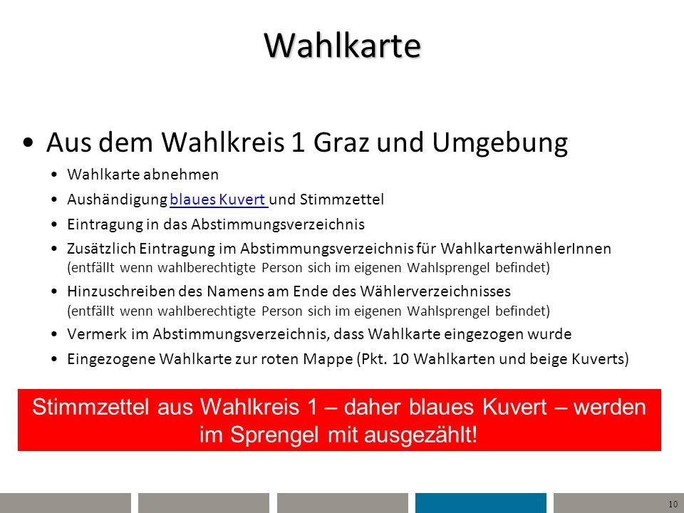 10 Wahlkarte Aus dem Wahlkreis 1 Graz und Umgebung Wahlkarte abnehmen Aushändigung blaues Kuvert und Stimmzettel Eintragung in das Abstimmungsverzeich
