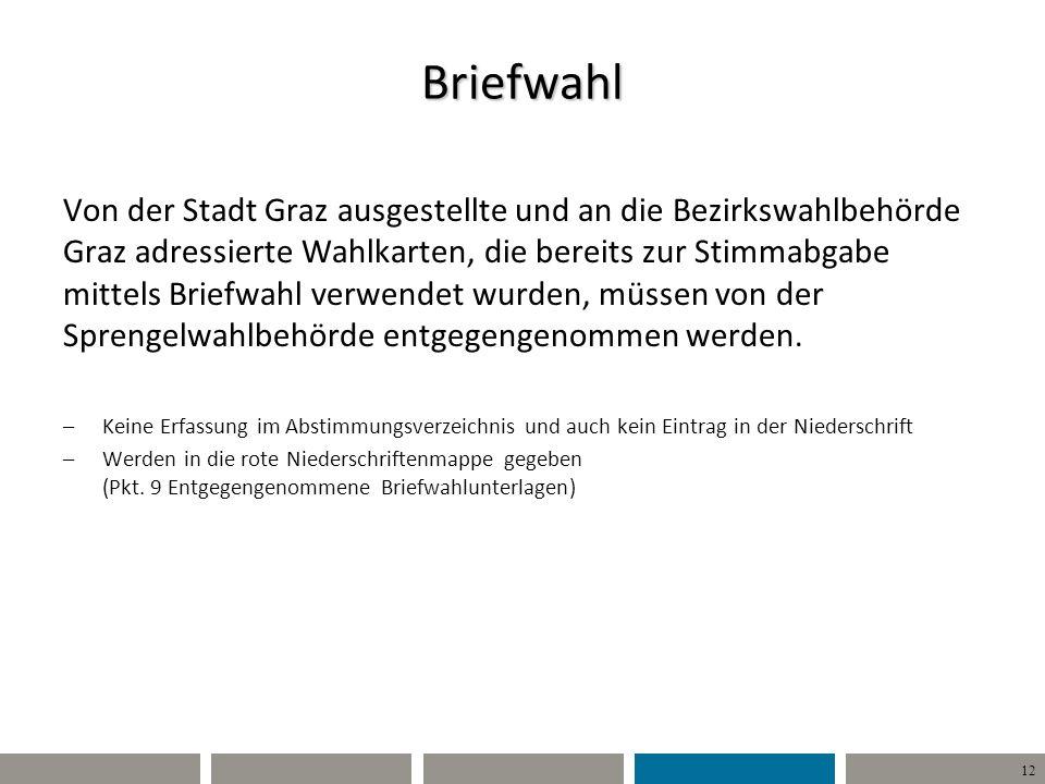 12 Briefwahl Von der Stadt Graz ausgestellte und an die Bezirkswahlbehörde Graz adressierte Wahlkarten, die bereits zur Stimmabgabe mittels Briefwahl