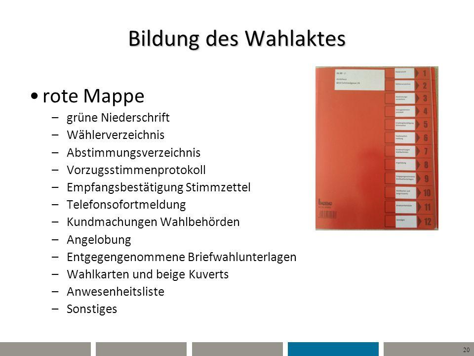 20 Bildung des Wahlaktes rote Mappe –grüne Niederschrift –Wählerverzeichnis –Abstimmungsverzeichnis –Vorzugsstimmenprotokoll –Empfangsbestätigung Stim