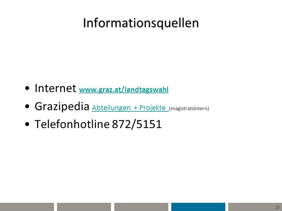23 Informationsquellen Internet www.graz.at/landtagswahl www.graz.at/landtagswahl Grazipedia Abteilungen + Projekte (magistratsintern) Abteilungen + P