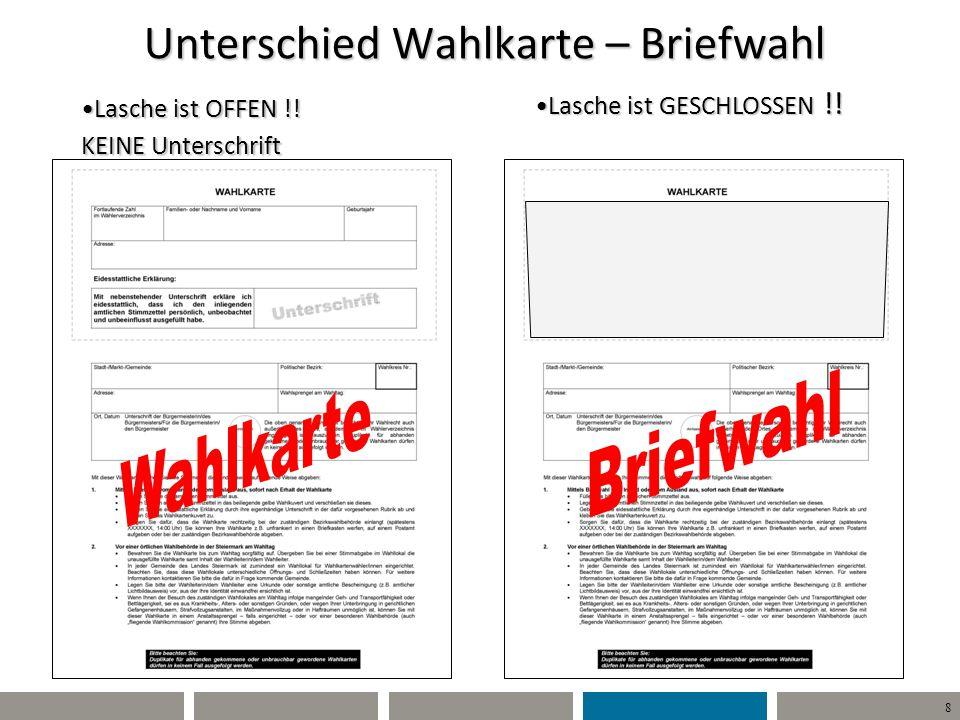 8 Willi Wähler Unterschied Wahlkarte – Briefwahl Lasche ist OFFEN !! KEINE UnterschriftLasche ist OFFEN !! KEINE Unterschrift Lasche ist GESCHLOSSEN !