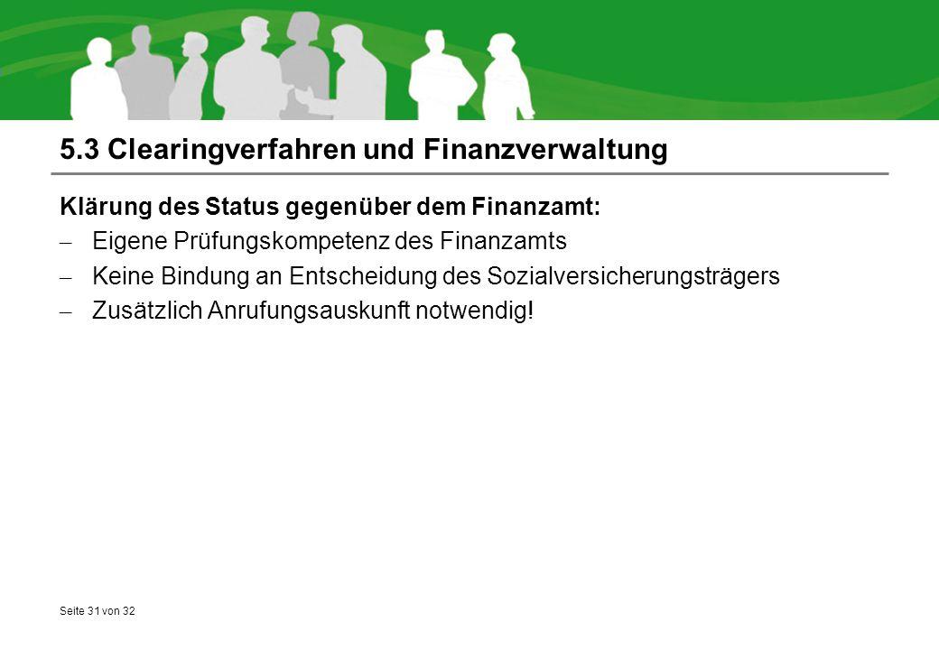 Seite 31 von 32 5.3 Clearingverfahren und Finanzverwaltung Klärung des Status gegenüber dem Finanzamt: – Eigene Prüfungskompetenz des Finanzamts – Kei