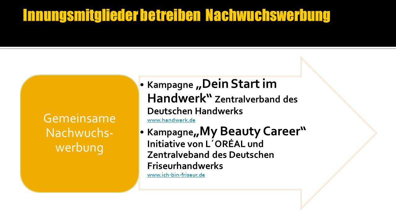"""Kampagne """"Dein Start im Handwerk Zentralverband des Deutschen Handwerks www.handwerk.de www.handwerk.de Kampagne """"My Beauty Career Initiative von L´ORÉAL und Zentralveband des Deutschen Friseurhandwerks www.ich-bin-friseur.de www.ich-bin-friseur.de Gemeinsame Nachwuchs- werbung"""
