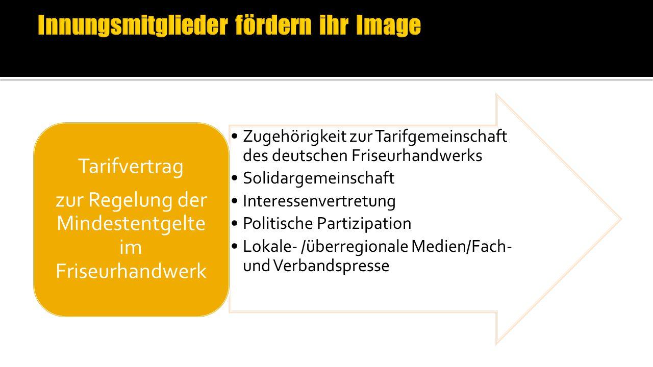 Zugehörigkeit zur Tarifgemeinschaft des deutschen Friseurhandwerks Solidargemeinschaft Interessenvertretung Politische Partizipation Lokale- /überregionale Medien/Fach- und Verbandspresse Tarifvertrag zur Regelung der Mindestentgelte im Friseurhandwerk