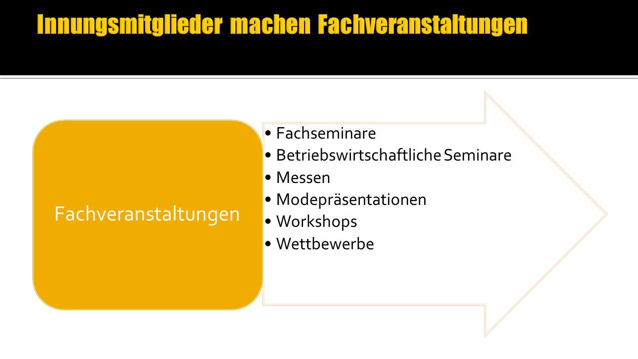 Fachseminare Betriebswirtschaftliche Seminare Messen Modepräsentationen Workshops Wettbewerbe Fachveranstaltungen