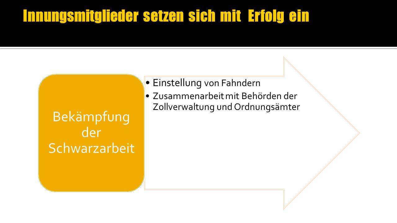 Einstellung von Fahndern Zusammenarbeit mit Behörden der Zollverwaltung und Ordnungsämter Bekämpfung der Schwarzarbeit