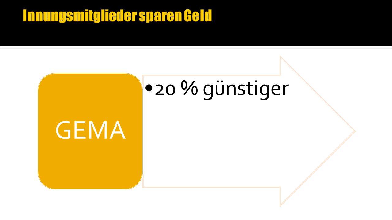 20 % günstiger GEMA