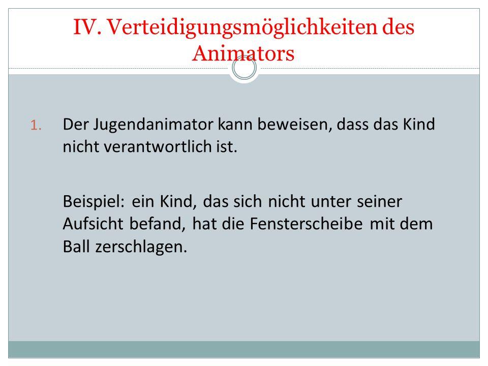 IV. Verteidigungsmöglichkeiten des Animators 1. Der Jugendanimator kann beweisen, dass das Kind nicht verantwortlich ist. Beispiel: ein Kind, das sich