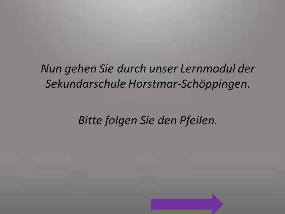 Nun gehen Sie durch unser Lernmodul der Sekundarschule Horstmar-Schöppingen. Bitte folgen Sie den Pfeilen.
