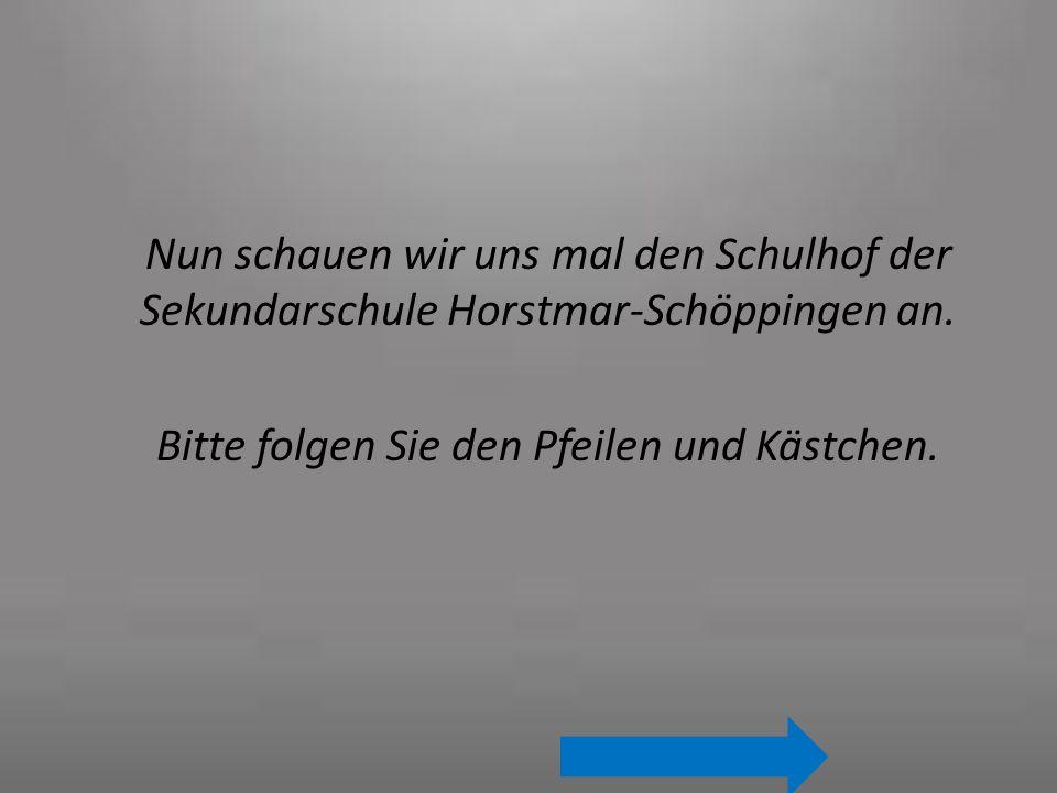 Nun schauen wir uns mal den Schulhof der Sekundarschule Horstmar-Schöppingen an. Bitte folgen Sie den Pfeilen und Kästchen.