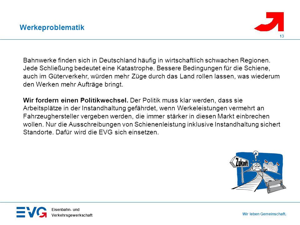 Werkeproblematik Eisenbahn- und Verkehrsgewerkschaft Wir leben Gemeinschaft. 13 Bahnwerke finden sich in Deutschland häufig in wirtschaftlich schwache